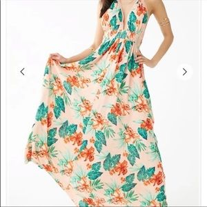 NWT forever 21 pink floral halter maxi dress